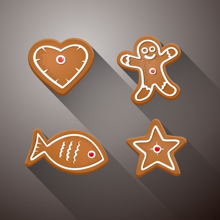 starr: Vector Christmas Gingerbread - Heart, Fish, Star and Gingerbread Man on Dark Background