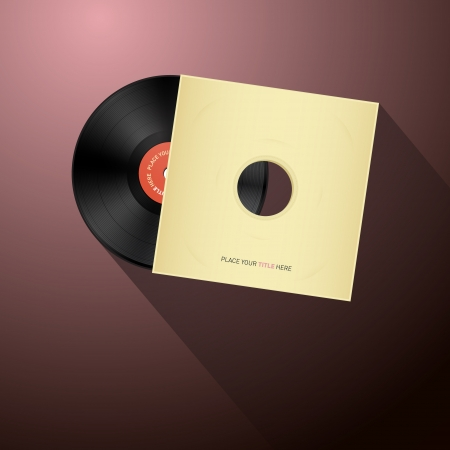 tracklist: Retro Vector Vinyl Record Disc in Paper Cover