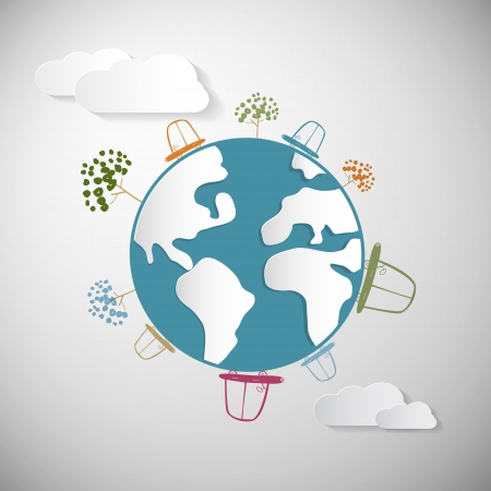 Paper Cars, Clouds, Trees and Earth, Globe Vector