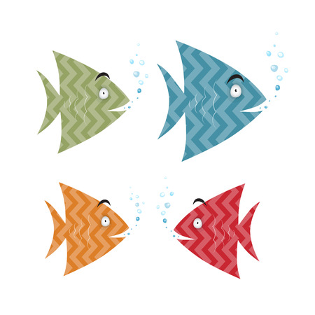 Abstract Retro Fish Set Illustration Illustration
