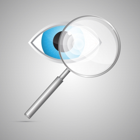 Vector 3D Magnifying Glass and Blue Eye Isolated on Grey Background