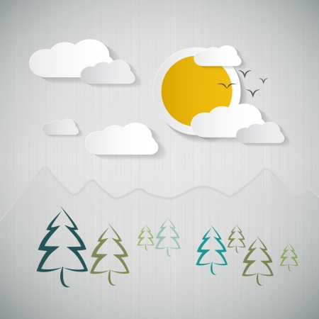 Abstract Nature Background with Paper Sun, Clouds, Trees and Mountains Stock Vector - 24754344