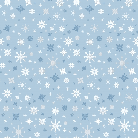 Abstract Vector Seamless Blue Winter Background with Snowflakes Vector