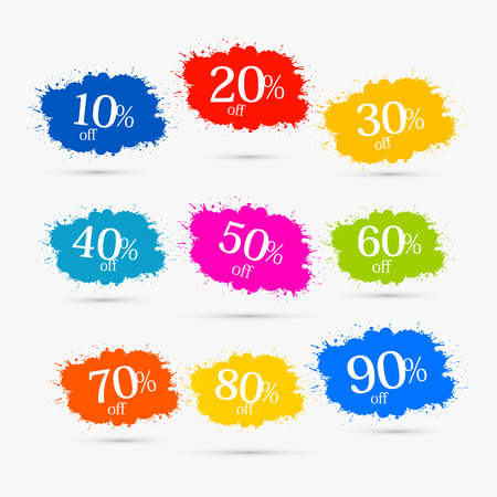 Colorful Discount Labels, Stains, Splashes  Illustration