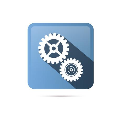 Blue Square Cogs, Gears Icon Ilustracja