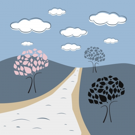 Abstract Vector Nature Scene with Trees, Road, Hills, Clouds Vector