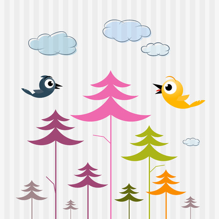 Retro Vector Paper Trees, Birds and Clouds  Vector