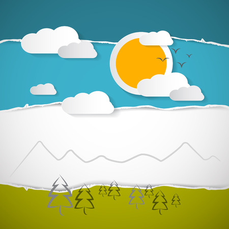 Abstract Vector Trees, Clouds, Mountain, Sun on Retro Torn Paper Background Vector