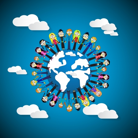 People - Women Holding Hands Around Globe on Blue Sky Background Vector