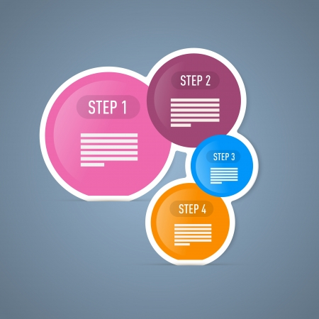 Four Tutorial Steps, Infographics Web Layout. Vector