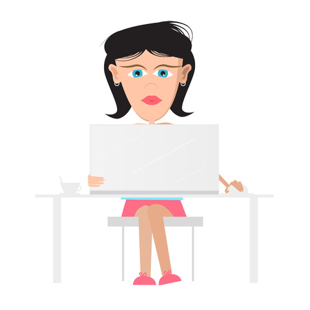 Secretary, Business Woman Sitting in Office Working on Computer, Notebook  Vector Illustration  Vector