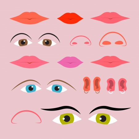 Vector Eyes, Mouths, Noses and Ears Set Vector