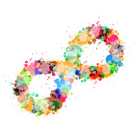 Abstract Vector Colorful Stain, Splash Infinity Symbol Isolated on White Background Vector