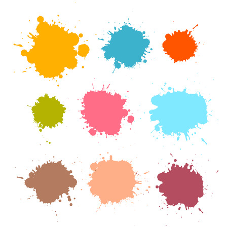 Colorful Retro Vector Stains, Blots, Splashes Set  Illustration