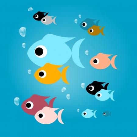 bunter fisch: Vector Bunte Fische mit Blasen im blauen Wasser