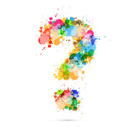 Abstract Vector Question Mark Colorful Symbol made from Splashes, Blots, Stains