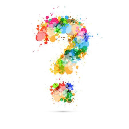 Abstract Vector Question Mark simbolo colorato fatto da schizzi, macchie, macchie