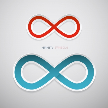 Red and Blue Paper Infinity Symbols Ilustrace