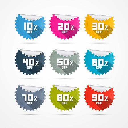 10% off, 20% off, 30% off, 40% off, 50% off, 60% off, 70% off, 80% off and 90% off Stickers Labels 版權商用圖片 - 25032961