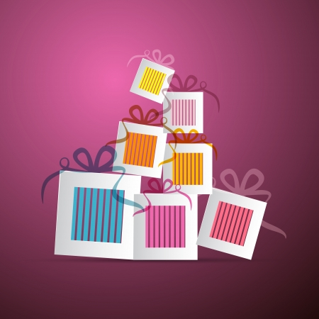 Colorful Abstract Paper Gift Boxes on Violet Background
