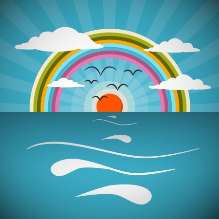Ocean Abstract Retro Illustration with Sun, Birds and Rainbow Stock Vector - 25033038
