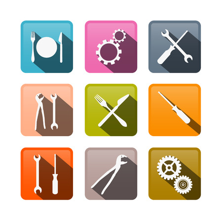Retro Buttons: Cogs, Gears, Screwdriver, Pincers, Spanner, Hand Wrench Tools, Knife and Fork  Vector