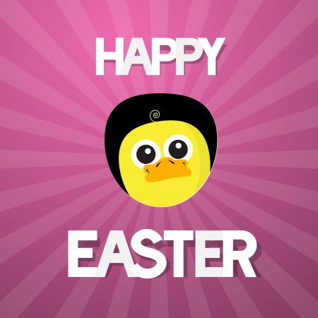 Happy Easter Abstract Pink Background with Funny Yellow Chicken Vector