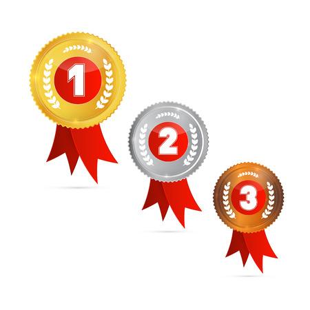 Medailles: Goud, Zilver, Brons, eerste, tweede en derde Stock Illustratie