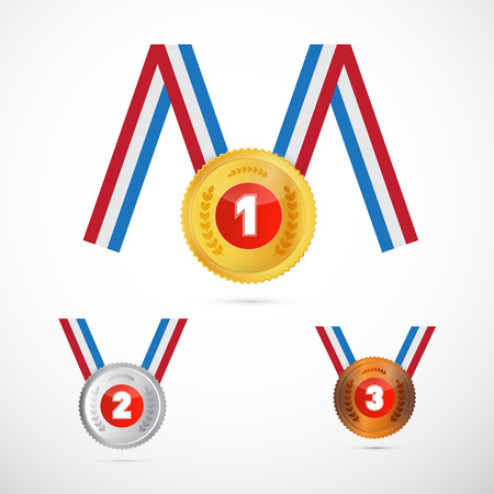 Medals Set: Gold, Silver, Bronze, First, Second and Third Vector