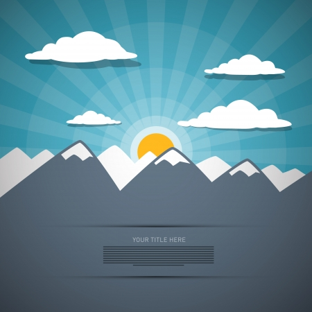 Mountain Abstract Background with Sun and Clouds Vector