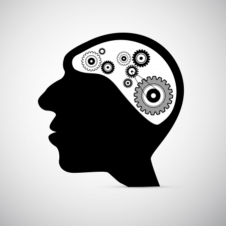 Abstract Black Human Head with Cogs, Gears Instead of Brain Vector