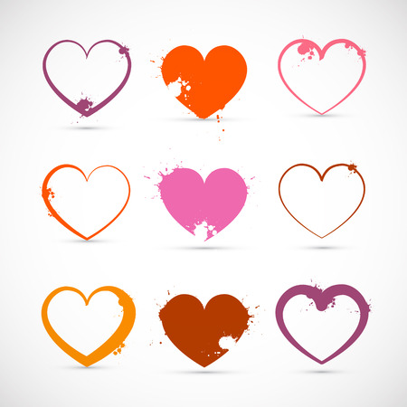 Heart Set of Grunge Pink, Red, Orange Valentine Symbols with Splashes, Stains and Blots. Vector