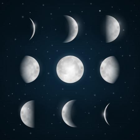 月の満ち欠け - 夜空の星