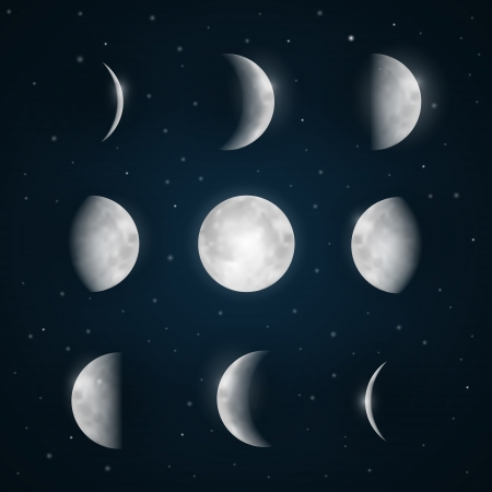 phases: Moon Phases - Night Sky with Stars