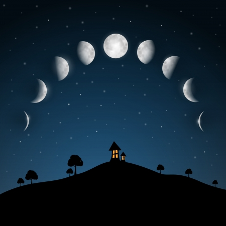 phase: Moon Phases. Night Landscape with Trees and House.
