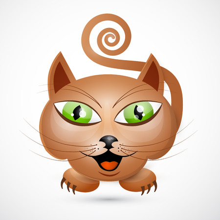 Abstract Vector Brown Cat Illustration with Green Eyes Isolated on White Background Stock Vector - 25032780