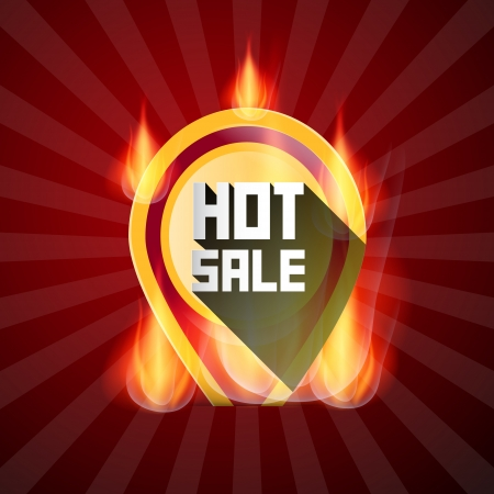 flames of fire: Hot Sale Yellow Label in Flames, Fire on Retro Red Background