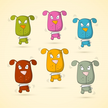 Colorful Dogs Set on Old Paper Background