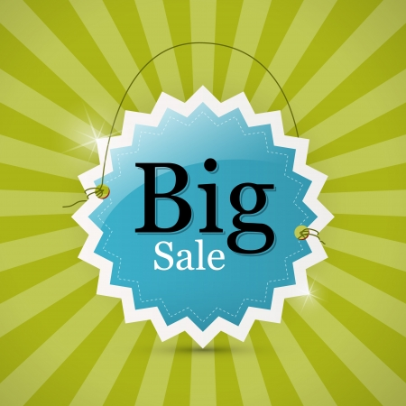 Blue Retro Big Sale Tag - Label on Green Background  Vector