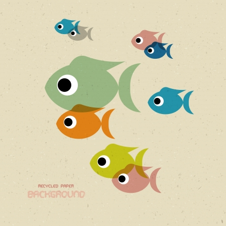 colorful fish: Vector Transparent Colorful Fish Icons on Recycled Paper