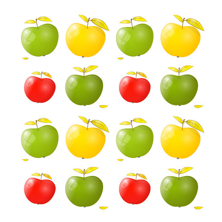 Vector Green, Yellow and Red Apple Background  Vector
