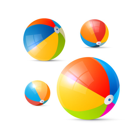 throwing ball: Colorful Vector Beach Balls Isolated on White Background