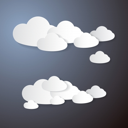 Vector Clouds Cut From Paper on Grey Background  Vector
