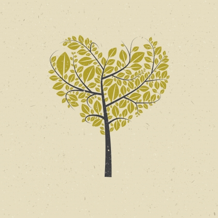 Abstract Heart Shaped Tree on Recycled Paper Background