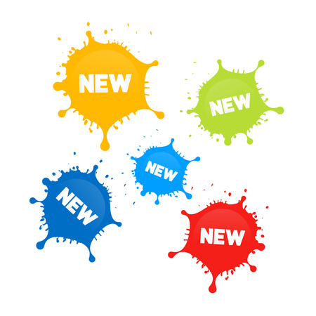 new product: Colorful Vector Stains, Splashes With New Title Isolated on White Background
