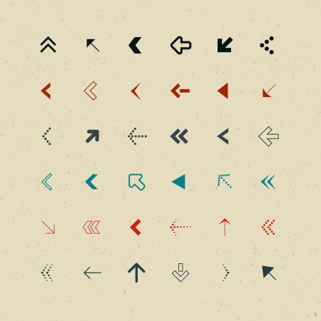 Vector Retro Arrows Set on Recycled Paper  Vector