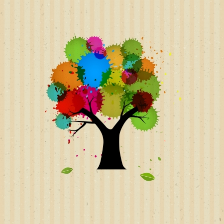 Abstract Vector Tree With Colorful Blobs, Splashes on Recycled Paper Background  Vector