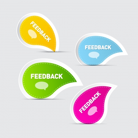 Colorful Feedback Icons Isolated on Grey Background Vector