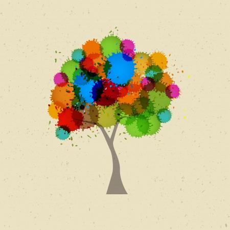 Árbol abstracto de vector con coloridos Blobs, salpicaduras en el fondo de papel reciclado