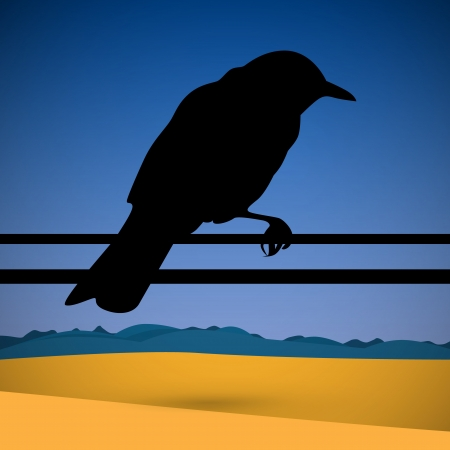 Bird Silhouette with Abstract Desert Scene on Background Vector